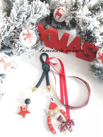 Γούρι Χριστουγεννιάτικο κορδόνι πράσσινο με ξύλινη κουκουβάγια χάντρα λάβας κρυστάλλινη χάντρα και επιχρυσωμένο 18 και πέταλο