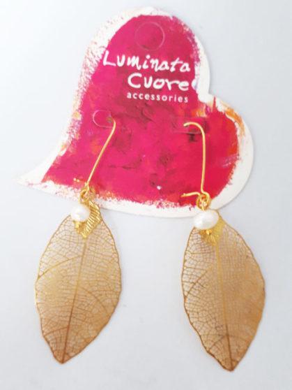 Σκουλαρίκια επιχρυσωμένα φύλλο και μαργαριτάρι
