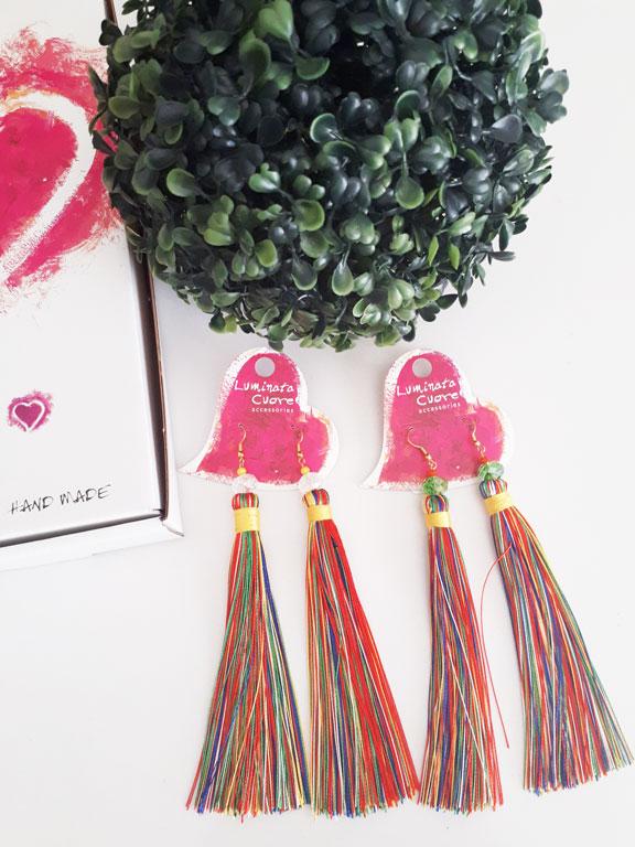 Σκουλαρίκια φούντες πολύχρωμες κρεμαστές με κρυστάλλινες χάντρες