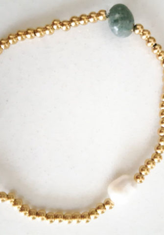 86638880a6 Βραχιόλι με κρύσταλλα και ατσάλι και ημιπολύτιμες πέτρες