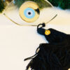 Γούρι plexiglass διάφανο μάτι με φούντα και επιχρυσωμένο 20