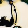 Γούρι μαύρη φούντα με plexiglass μαύρο μάτι και επιχρυσωμένο 20